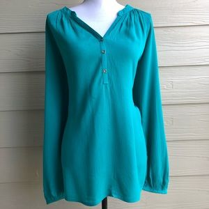 Lilly Pulitzer Teal Button Down Blouse Size L